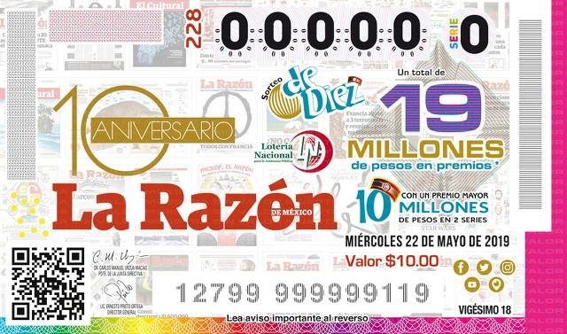 Loteria Nacional Sorteo De Diez No. 228 en Vivo – Miércoles 22 de Mayo del 2019