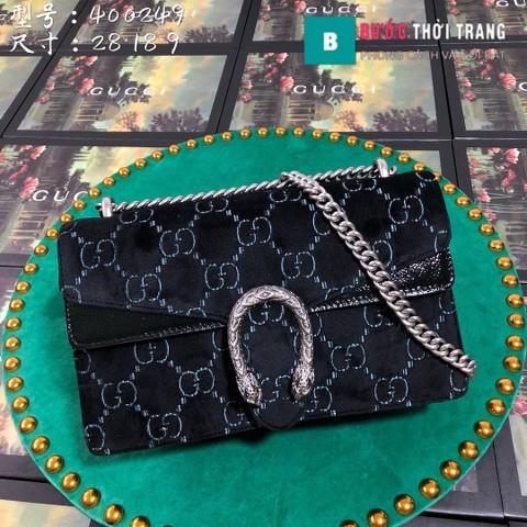 Gucci Dionysus Small Size 28 cm chất nhung đen hoa văn