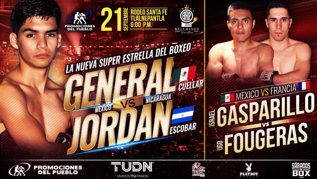 """David Fernando """"El General"""" Cuellar vs Jordán """"Tanquecito"""" Escobar en Vivo – Box – Sábado 21 de Septiembre del 2019"""
