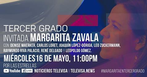 Margarita Zavala en Tercer Grado en Vivo – Miércoles 16 de Mayo del 2018