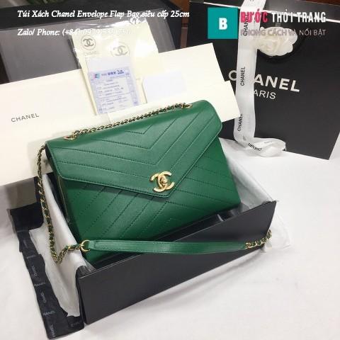 Túi Xách Chanel Envelope Flap Bag siêu cấp màu xanh lá 25cm - A57432
