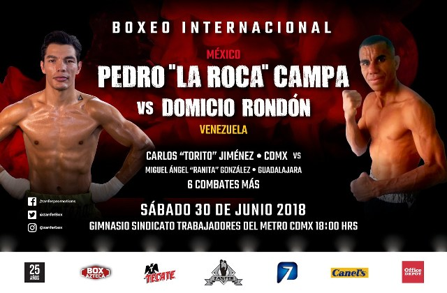 """Pedro """"La Roca"""" Campa vs Domicio Rondón en Vivo – Box – Sábado 30 de Junio del 2018"""