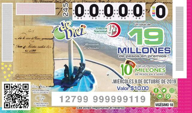 Loteria Nacional Sorteo de Diez No. 245 en Vivo – Miércoles 9 de Octubre del 2019