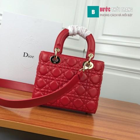 Túi Xách Dior Lady siêu cấp 3 ô size 20 cm màu đỏ