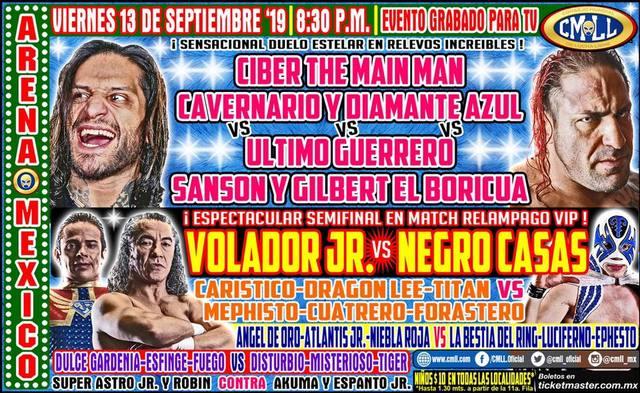 Lucha Libre de la CMLL desde la Arena México en Vivo – Viernes 13 de Septiembre del 2019