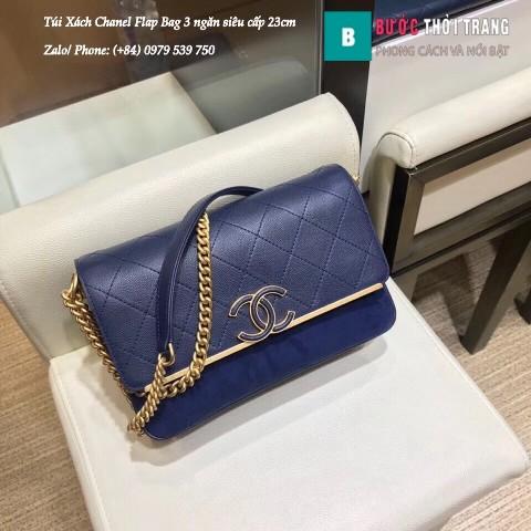 Túi Xách Chanel Flap Bag 3 ngăn siêu cấp màu xanh size 23cm