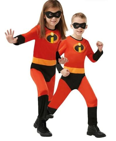 Size 2-12 years The Incredibles Kids Costume with free Mask Boys Girls Cosplay