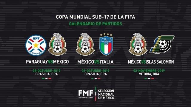 México conoce a sus rivales para el Mundial Sub 17 Brasil 2019