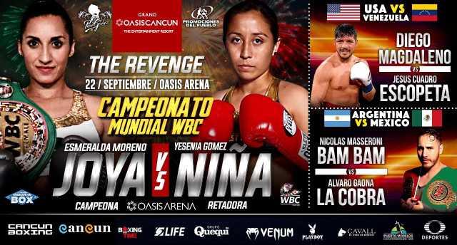 Esmeralda «La Joya» Moreno vs Yesenia «La Niña» Gómez en Vivo – Box – Sábado 22 de Septiembre del 2018