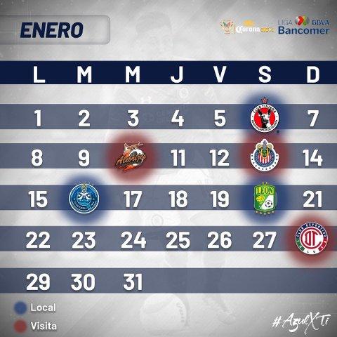 Calendario Completo de Cruz Azul para el Torneo Clausura 2018