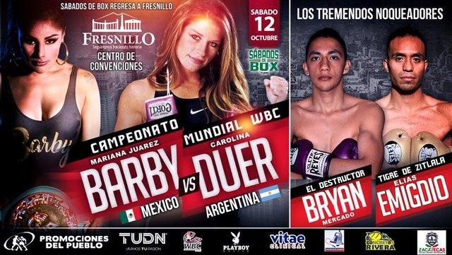 """Mariana """"Barbie"""" Juárez vs Carolina Raquel Duer en Vivo – Box – Sábado 12 de Octubre del 2019"""