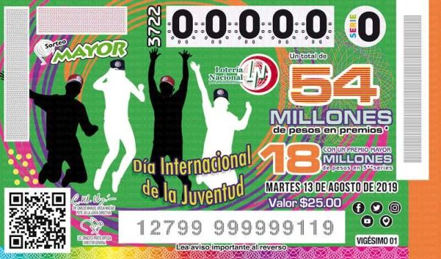 Loteria Nacional Sorteo Mayor No. 3722 en Vivo – Martes 13 de Agosto del 2019