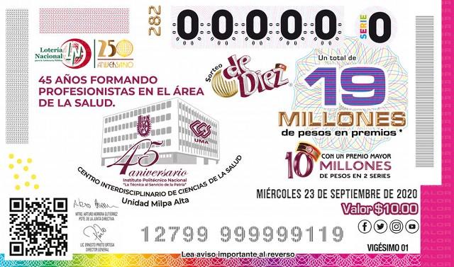 Loteria Nacional Sorteo de Diez No. 282 en Vivo – Miércoles 23 de Septiembre del 2020