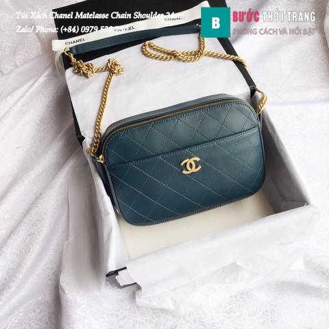 Túi Xách Chanel Matelasse Chain Shoulder siêu cấp màu xanh 24cm - A57575