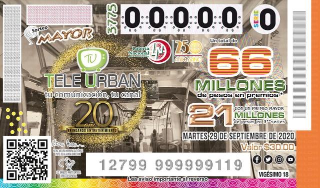 Loteria Nacional Sorteo Mayor No. 3775 en Vivo – Martes 29 de Septiembre del 2020