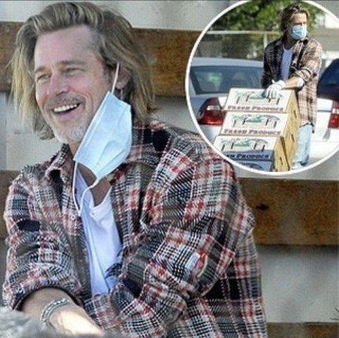 Brad Pitt repartió cajas de alimentos a familias de bajos ingresos