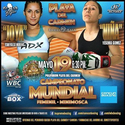 Esmeralda Moreno vs Yesenia Gomez en Vivo – Box – Sábado 19 de Mayo del 2018