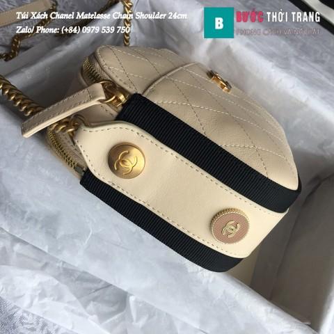 Túi Xách Chanel Matelasse Chain Shoulder siêu cấp màu sữa 24cm - A57575