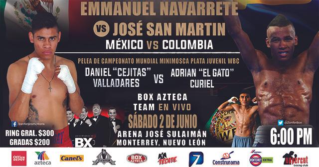 """Emanuel """"Vaquero"""" Navarrete vs José """"El General"""" Sanmartín en Vivo – Box – Sábado 2 de Junio del 2018"""