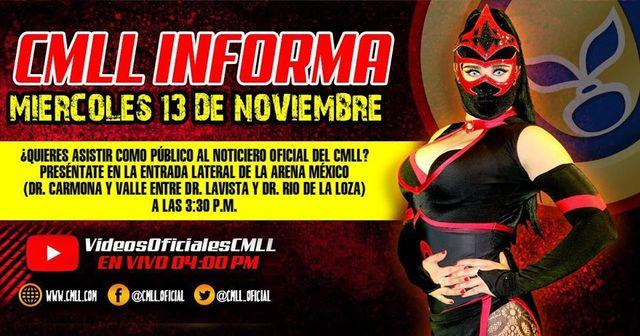 CMLL Informa en Vivo – Programa sobre Lucha Libre – Miércoles 13 de Noviembre del 2019