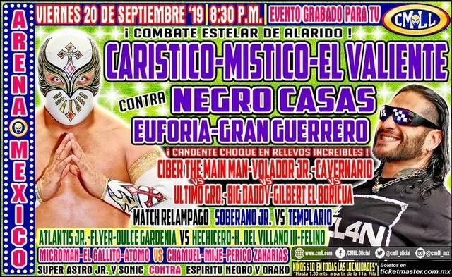 Lucha Libre de la CMLL desde la Arena México en Vivo – Viernes 20 de Septiembre del 2019