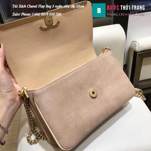 Túi Xách Chanel Flap Bag 3 ngăn siêu cấp màu da size 23cm