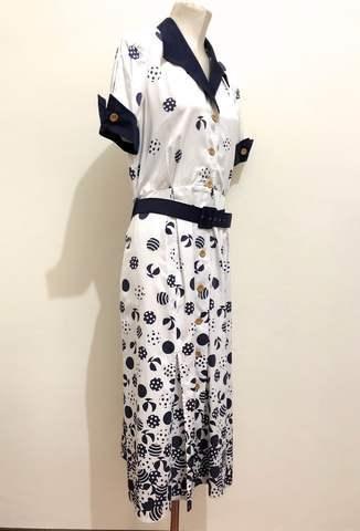 Details zu Louis Feraud Paris Vintage '70 Damenkleid Tupfen Frau Kleid SZ.L 46