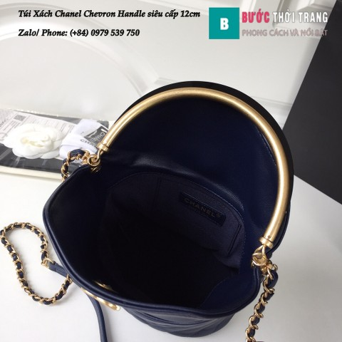 Túi Xách Chanel Chevron Handle with Chic Bucket siêu cấp xanh biển 12cm - A57861