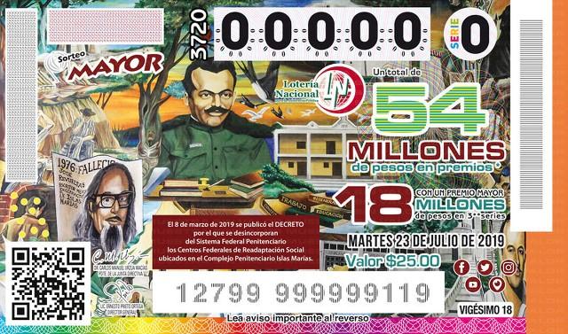 Loteria Nacional Sorteo Mayor No. 3720 en Vivo – Martes 23 de Julio del 2019