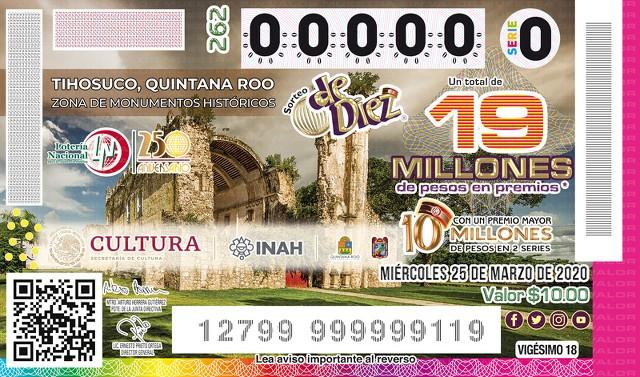 Lotería Nacional Sorteo de Diez No. 262 en Vivo – Miércoles 25 de Marzo del 2020