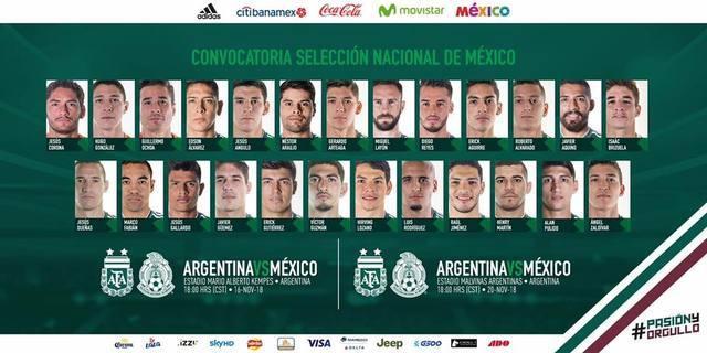 Convocados a la Selección Mexicana para enfrentar a Argentina