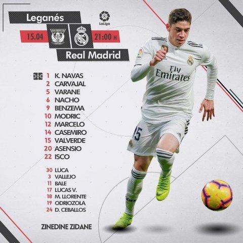 Alineación confirmada del Real Madrid vs Leganes