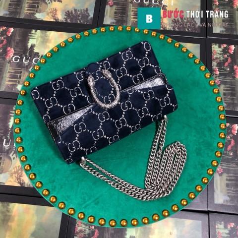 Túi Xách Gucci Dionysus Small Size 28 cm chất nhung hoa văn xanh đen - 400249