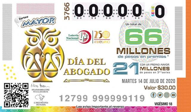 Lotería Nacional Sorteo Mayor No. 3766 en Vivo – Martes 14 de Julio del 2020