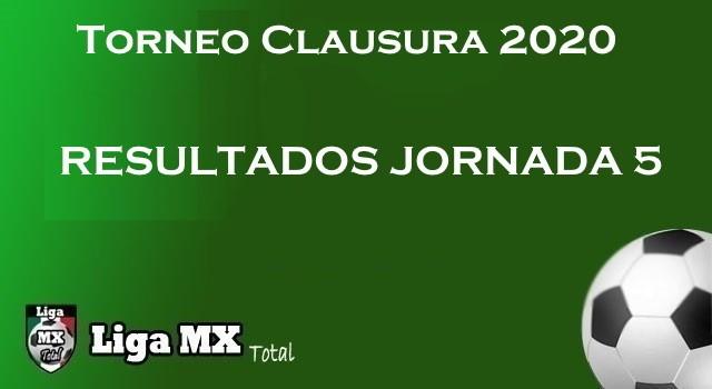 Resultados Jornada 5 del Clausura 2020 de la Liga MX