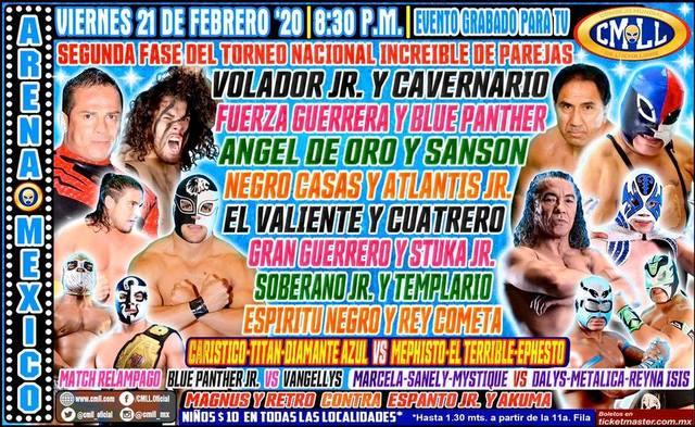 Lucha Libre de la CMLL desde la Arena México en Vivo – Torneo Nacional Increíble de Parejas – Viernes 21 de Febrero del 2020