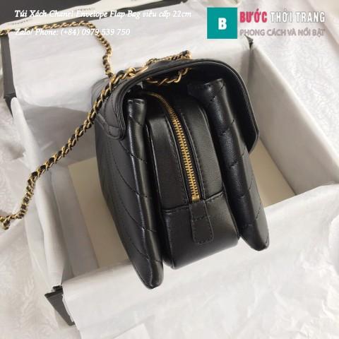 Túi Xách Chanel Envelope Flap Bag siêu cấp màu đen 22cm - A57431