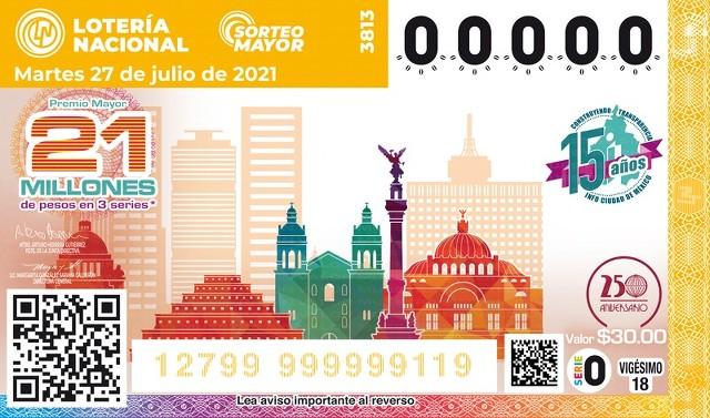 Lotería Nacional Lista de Ganadores del Sorteo Mayor No. 3813 que se jugo el Martes 27 de Julio del 2021