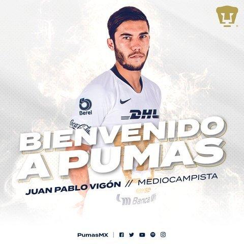 Pumas da la bienvenida a Juan Pablo Vigón