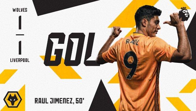 Golazo de Raúl Jimenez con Wolves ante el Liverpool