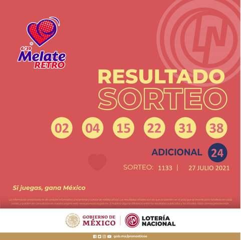 Resultados Melate Retro No. 1133 del Sorteo Celebrado el Martes 27 de Julio del 2021