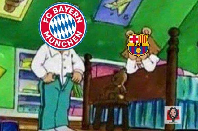Meme 4 del Barcelona 2-8 Bayern Munich en la Champions League