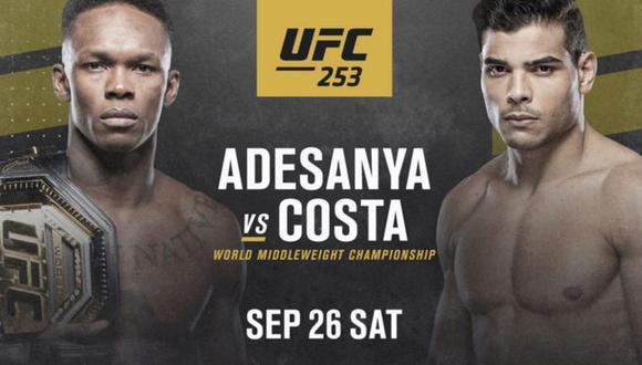 Adesanya vs Costa – UFC 253 en Vivo – Sábado 26 de Septiembre del 2020