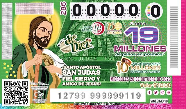 Lotería Nacional Sorteo de Diez No. 286 en Vivo – Miércoles 28 de Octubre del 2020