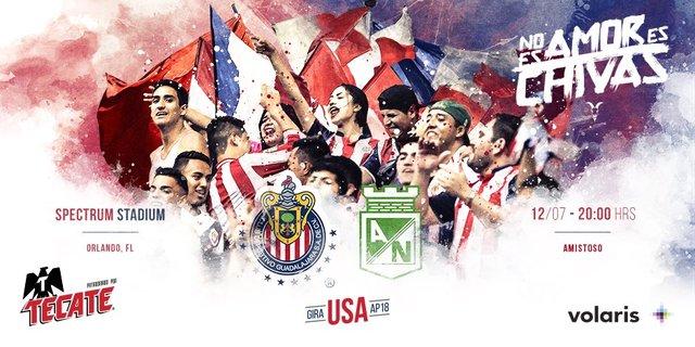 Chivas vs Atlético Nacional en Vivo – Partido Amistoso – Jueves 12 de Julio del 2018