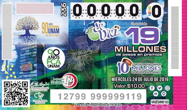 Loteria Nacional Sorteo de Diez 236 en Vivo – Miércoles 24 de Julio del 2019