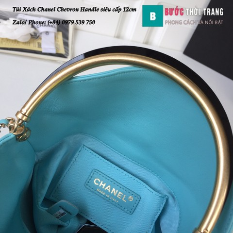 Túi Xách Chanel Chevron Handle with Chic Bucket siêu cấp xanh ngọc 12cm - A57861