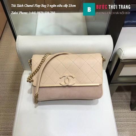 Túi Xách Chanel Flap Bag 3 ngăn siêu cấp màu da size 23cm - AX104023
