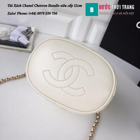 Túi Xách Chanel Chevron Handle with Chic Bucket siêu cấp màu trắng 12cm - A57861