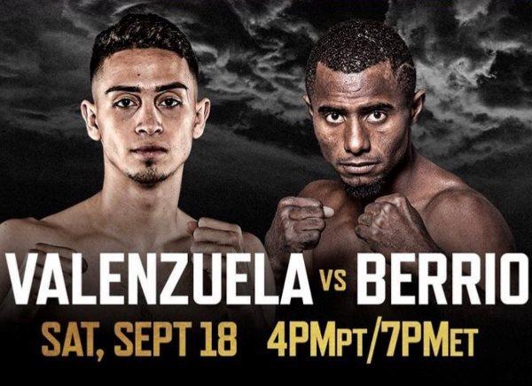 Jose Valenzuela vs Deiner Berrio en Vivo – Box – Sábado 18 de Septiembre del 2021